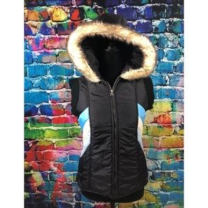 Free People hooded vest puffer M